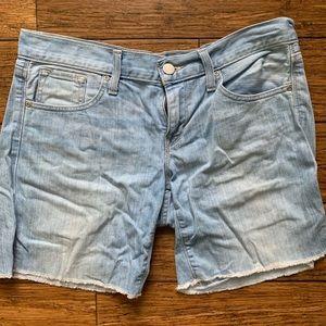 Light Faded Wash Blue Denim Jean Shorts
